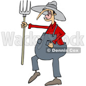 Clipart of a Cartoon Angry Yelling Male Farmer Holding a Pitchfork - Royalty Free Vector Illustration © djart #1522415