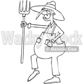Clipart of a Cartoon Black and White Angry Yelling Male Farmer Holding a Pitchfork - Royalty Free Vector Illustration © djart #1522416
