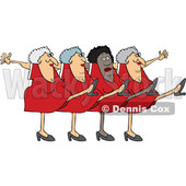 Clipart of a Cartoon Chorus Line of Senior Ladies Dancing the Can Can - Royalty Free Vector Illustration © djart #1522926
