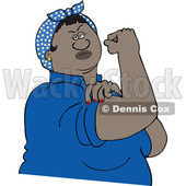 Clipart of a Cartoon Strong Black Rosie the Riveter Flexing Her Muscles - Royalty Free Vector Illustration © djart #1528733