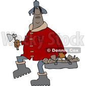 Clipart of a Chubby Black Man in a Winter Coat and Hat, Walking and Carrying Firewood and an Axe - Royalty Free Vector Illustration © djart #1531386