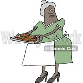 Clipart of a Black Woman Holding a Sheet of Brownies - Royalty Free Vector Illustration © djart #1531387