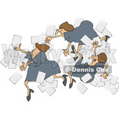 Clipart of a Group of Business Women Falling with Papers Flying Around - Royalty Free Vector Illustration © djart #1532349