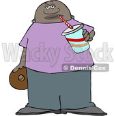 Clipart of a Black Man Sipping a Fountain Soda and Holding a Donut - Royalty Free Vector Illustration © djart #1533006