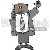 Clipart of a Black Business Man Waving and Talking on a Cell Phone - Royalty Free Vector Illustration © djart #1535124