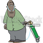 Clipart of a Cartoon Black Man on Oxygen Therapy - Royalty Free Vector Illustration © djart #1551074