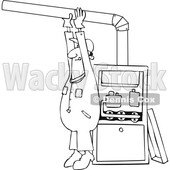Clipart of a Cartoon Lineart Black Male Furnace Installer Adjusting a Pipe - Royalty Free Vector Illustration © djart #1560323