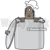 Clipart of a Black Male Chef Peeking out from Inside a Stock Pot - Royalty Free Vector Illustration © djart #1562294