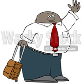 Clipart of a Traveling Black Business Man with Rolling Luggage, Waving Goodbye or Hailing a Taxi Cab - Royalty Free Vector Illustration © djart #1562919