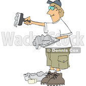 Clipart of a Drywall Installer Working - Royalty Free Vector Illustration © djart #1567806