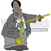 Clipart of a Black Business Man Taking a Measurement - Royalty Free Vector Illustration © djart #1567811