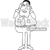 Clipart of a Cartoon Lineart Aggravated Black Business Man Squeezing His Face - Royalty Free Vector Illustration © djart #1568342