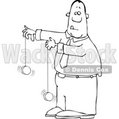 Clipart of a Cartoon Lineart Black Business Man Playing with Yoyos - Royalty Free Vector Illustration © djart #1568344