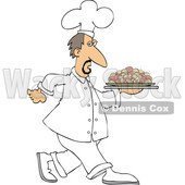 Clipart of a White Male Chef Walking with a Platter of Potatoes - Royalty Free Vector Illustration © djart #1569764