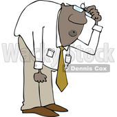 Clipart of a Cartoon Black Business Man Bending over to Look at Something - Royalty Free Vector Illustration © djart #1603643