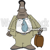 Clipart of a Cartoon Traveling Black Business Man - Royalty Free Vector Illustration © djart #1603644