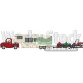 Clipart of a Cartoon White Man Driving a Pickup Truck and Hauling a Camper Fifth Wheel Trailer with a Trailer of ATVs - Royalty Free Vector Illustration © djart #1603647
