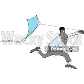 Clipart of a Black Man Running with a Kite - Royalty Free Vector Illustration © djart #1604530