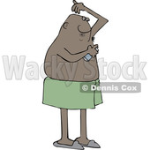 Clipart of a Cartoon Black Man Applying Deodorant Spray - Royalty Free Vector Illustration © djart #1606302