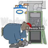 Clipart of a Cartoon Black Furnace Repair Man Bending over While Working on a Piece - Royalty Free Vector Illustration © djart #1606322