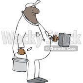 Clipart of a Cartoon Black Male Painter - Royalty Free Vector Illustration © djart #1607403