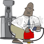 Clipart of a Cartoon Black Business Man Pumping Gasoline into a Gas Can - Royalty Free Vector Illustration © djart #1615019