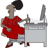 Clipart of a Cartoon Black Woman Working at an Office Desk - Royalty Free Vector Illustration © djart #1615412