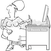 Clipart of a Cartoon Lineart Black Woman Working at an Office Desk - Royalty Free Vector Illustration © djart #1615413