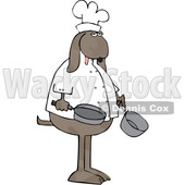 Clipart of a Cartoon Dog Chef Holding a Pot and Frying Pan - Royalty Free Vector Illustration © djart #1616565