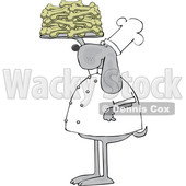 Clipart of a Cartoon Chef Dog Holding up a Tray of Biscuits - Royalty Free Vector Illustration © djart #1616726