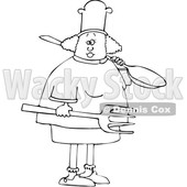 Cartoon Black and White Female Chef Carrying a Giant Spoon and Fork © djart #1617708