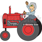 Cartoon Happy Male Farmer Waving While Operating a Tractor © djart #1618925