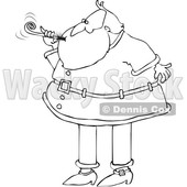 Cartoon Black and White Christmas Santa Claus Blowing a New Years Noise Maker © djart #1621861