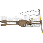 Cartoon Moose Holding on to a Flag Pole and Flying in the Wind © djart #1622767