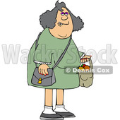 Cartoon Chubby White Woman Carrying a Shopping Bag Full of Apples and Oranges © djart #1622884
