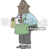 Cartoon Black Man Drying Dishes © djart #1624895