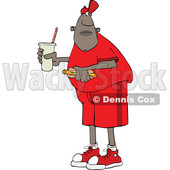 Cartoon Black Man Holding a Fountain Soda and Hot Dog © djart #1625449