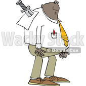 Cartoon Black Business Man Stabbed in the Back with a Sword © djart #1625451
