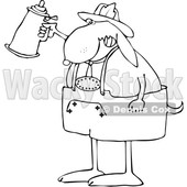 Cartoon Black and White Oktoberfest Dog Holding a Beer Stein © djart #1627673