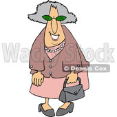 Cartoon Smiling Stylish Granny Dressed in Pink © djart #1630768