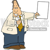 Cartoon White Business Man Pointing to a Piece of Paper © djart #1630771