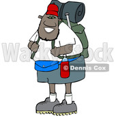 Cartoon Happy Black Male Hiker with Gear © djart #1632446