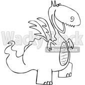 Cartoon Black and White Happy Dragon © djart #1633276