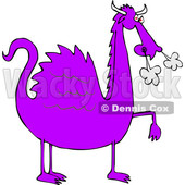 Cartoon Purple Dragon Blowing Smoke from His Nostrils © djart #1633286
