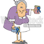 Cartoon White Granny Holding Her Prize Winning Jam © djart #1633293