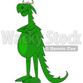 Cartoon Green Dragon with Folded Arms © djart #1634017