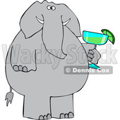Cartoon Elephant Holding a Margarita © djart #1634019