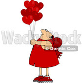 Cartoon Chubby Cupid with Valentines Day Heart Balloons © djart #1636246