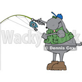 Cartoon Dog Wearing a Fishing Vest and Holding a Pole © djart #1636341
