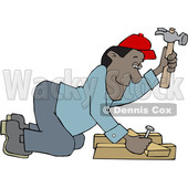 Cartoon Male Carpenter Kneeling and Hammering © djart #1637810